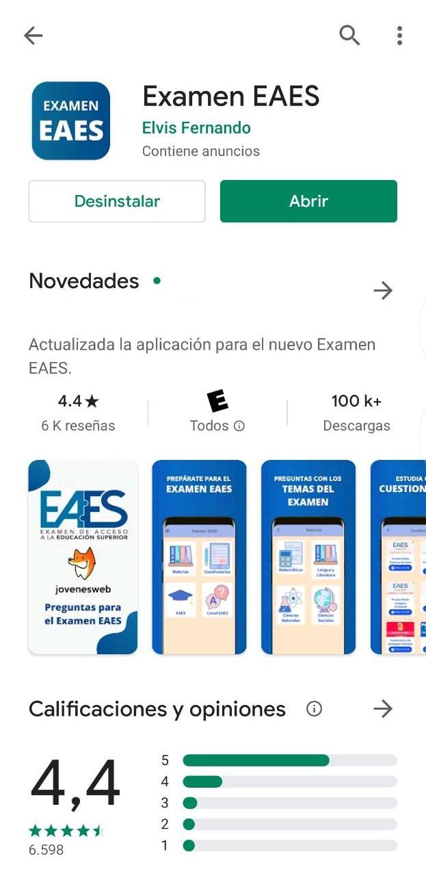 Aplicación Examen EAES